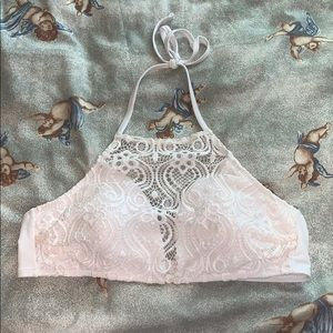 white crochet halter bikini top